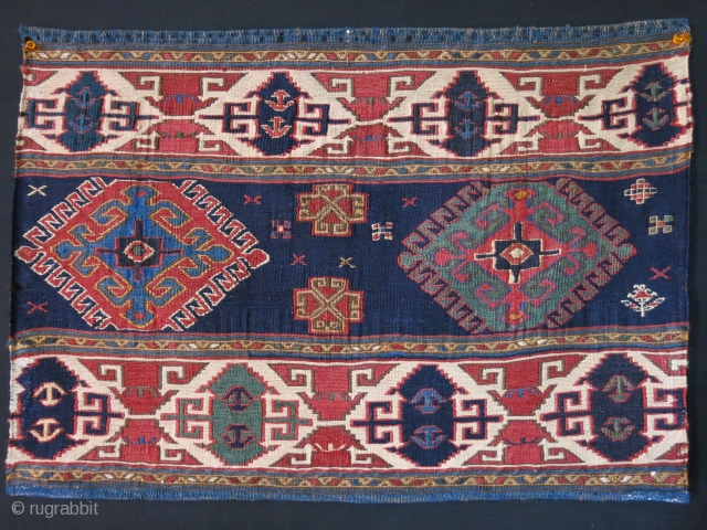 """Shahsavan bedding bag end panel - Great condition and saturated colors. Circa 19th cent. Size : 25.5"""" X 18"""" - 65 cm X 46 cm"""