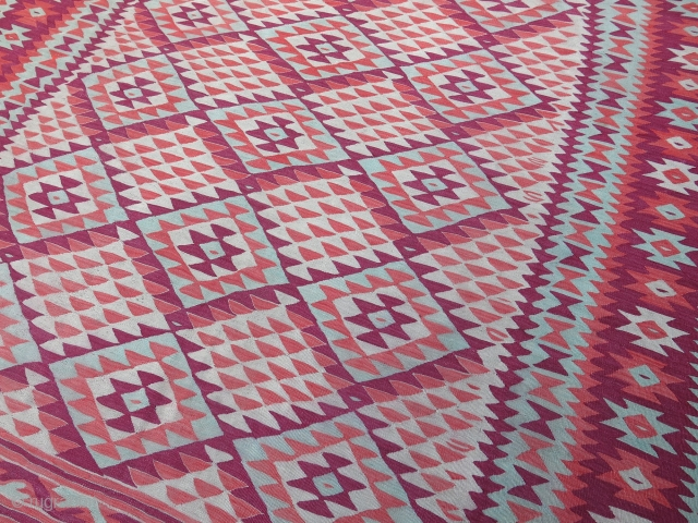 """South Europe - Balkan - Manastir large size kilim. Good condition, squarish size with traditional reddish colors. Circa 1900 or earlier- size : 315 cm X 285 cm -- 124"""" X 112""""  ..."""