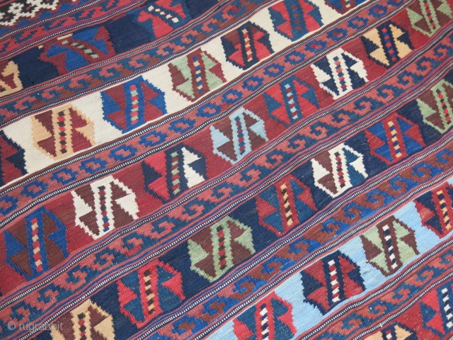 """Luri Qashkai Kilim. Great colors and condition- One thin repaired line- one images shows it. shared and slit warp woven. saturated colors. Circa 1900 or earlier size: 116"""" X 73"""" -- 295  ..."""
