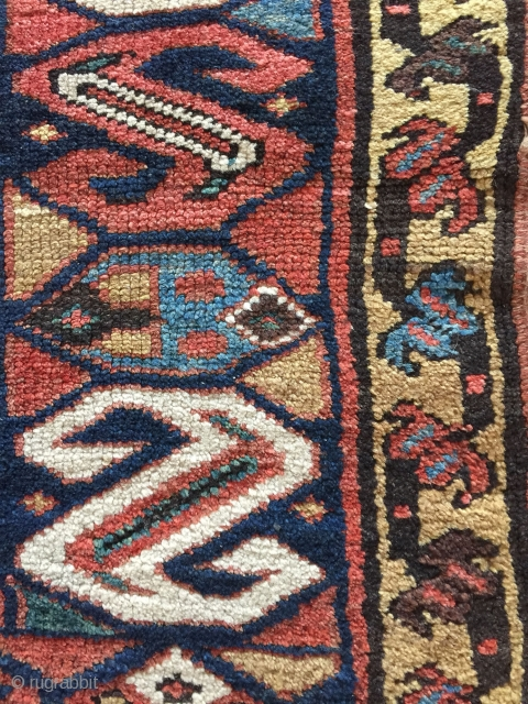 """NW Persian Kurdish mina khani long rug, 9ft x 4ft5"""". large scale drawing with archaic S border. Excellent condition. Untouched with original selvedges, full pile, missing 1cm on ends. 12 saturated happy colors.  ..."""