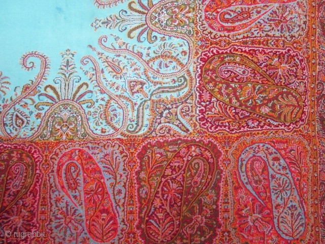 Great French Turquoise Paisley Shawl Circa 1840 Very