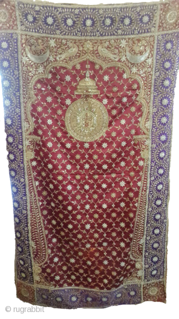 This is a karchowk piece of Gujarat with gold and silver thread