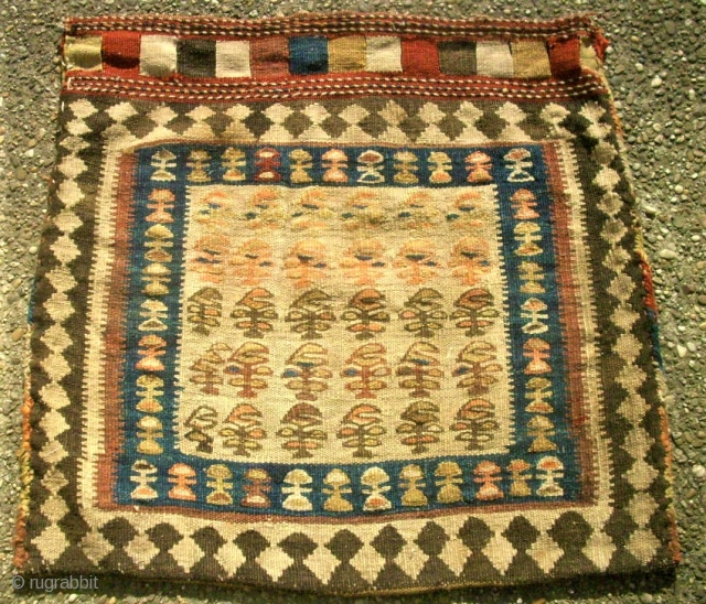 Interesting Shah Sawan bag. Size: 67 x 69 cm. Good condition. Kilim work.