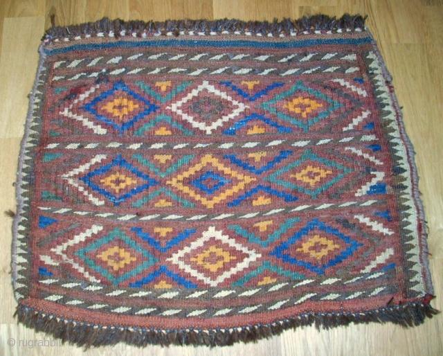 Old Kirgize? flatwave bagface - Sumakh! Size: 57 x 43 cm. Warp is camelwool.