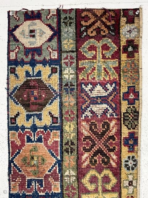 """Antique rug fragment. Origin? Great natural colors. Good pile. As found, in need of a wash. Old. 17"""" x 67"""""""