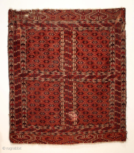 "Antique Yomud ensi. All good natural colors, unusually vibrant. Low pile with much damage as shown. Reasonably clean. ca. 1880 or earlier. 4'9"" x 5'6"""