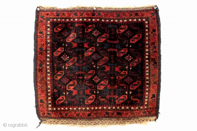 Antique Baluch bagface with extaordinary lustrous wool and a very saturated indigo ground. Full thick pile. All natural colors including some electric lighter blues and insect dyed elements. First rate weaving. Ca.  ...