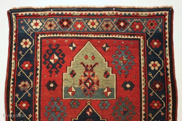 """Antique Kazak. Bold design. Good  original condition. Good healthy pile, a little brown oxidation and slight center wear. No repairs. All good natural colors featuring a very nice green. """"As found"""",  ..."""