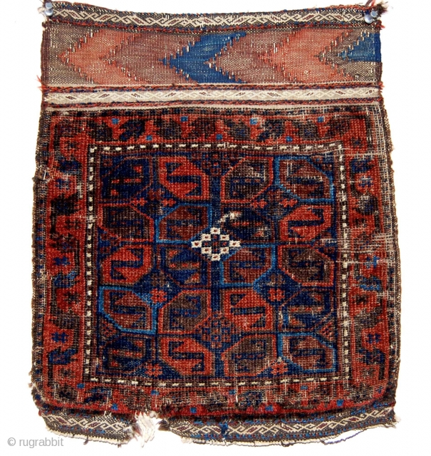 """Antique small baluch bagface. One of the oldest example I've seen of the type. Thin with low pile, wear, rough edges. All good colors. Ca 1875 or earlier. 15"""" x 17"""" including  ..."""