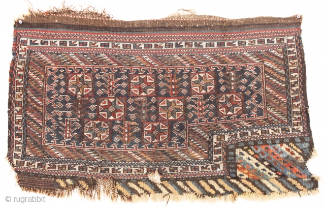 Old large bakhtiari mixed technique bag face. Mostly soumak but an area of pile decoration as well. Appears older than many I have encountered. As usual the whites are cotton. Good old  ...