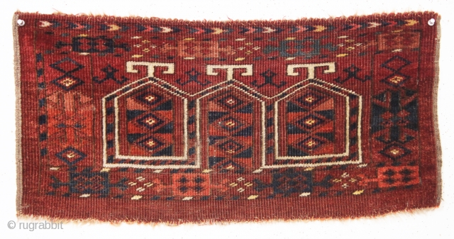 """Old little ersari turkman mafrash. Fresh New England find. In good condition with even low pile. All natural colors. Soft and supple handle. 19th c. 13"""" x 27"""""""