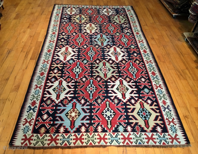 Antique large Caucasian kuba kelim. Older example with all natural colors in exceptional condition. Lovely light blues, greens and yellows. Extremely fine weave with supple, cloth like handle. Fresh New England find.  ...
