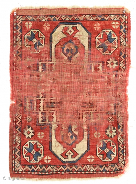 """Most ancient or at least most worn yastik I could find. Dirty but appears to have all natural colors. Needs a new home, maybe some new pile. 19th c. 20"""" x 29""""  ..."""