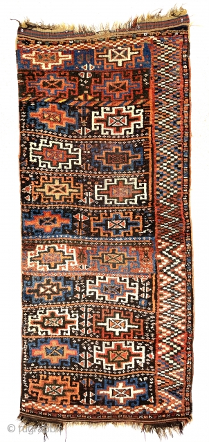 Antique Kurdish pile divan cover with a bold memling gul design field and an unusually graphic border. Overall good thick high pile with very slight wear. Original selvages and remnant Kelim ends.  ...