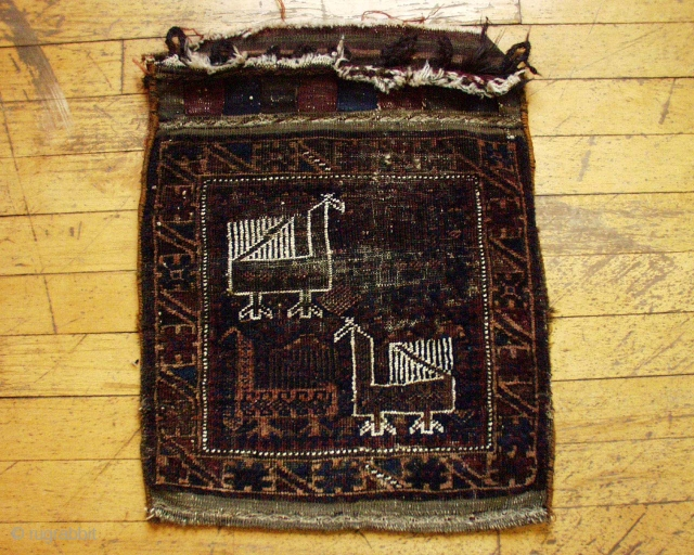 """Antique Baluch bag. Complete with original back. Some wear, some oxidation. The least exspensive bird bag ever. Colors look all good. Washed.  21"""" x  25"""""""