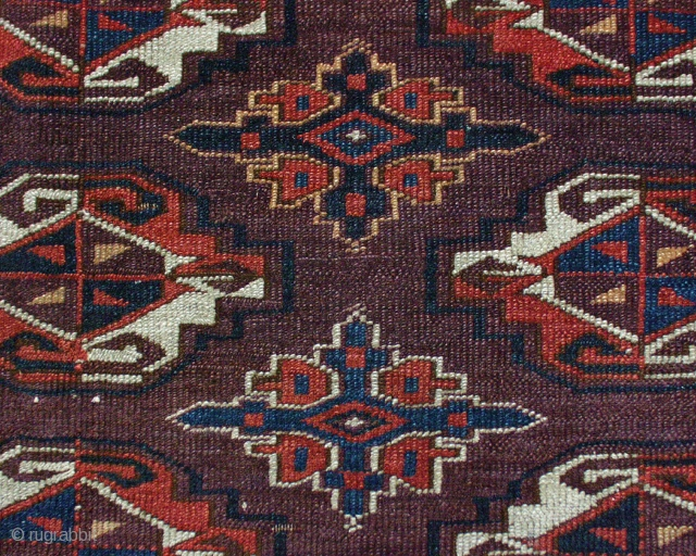 """Antique Yomud chuval. Nicely drawn with interesting details. Good quality wool. Even low pile. All natural colors. ca. 1880 oe earlier. 2' 4"""" x  3' 9"""""""