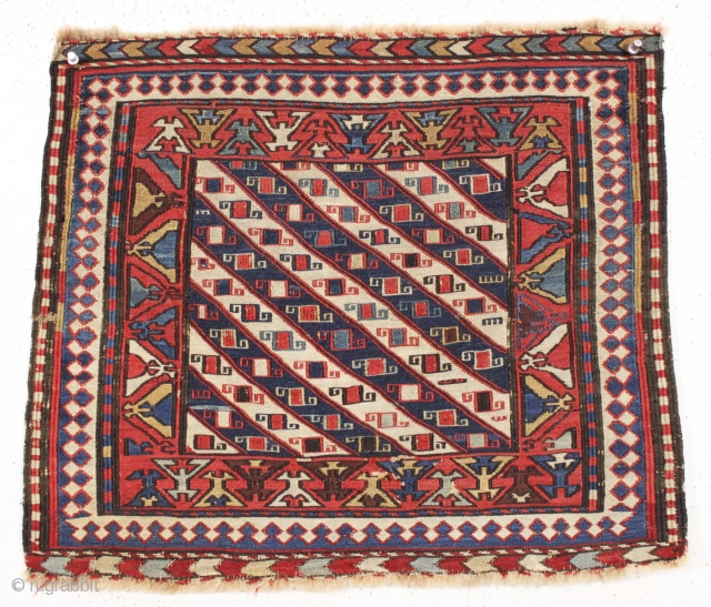 antique little soumak bagface. Good design and good untouched condition. All natural colors. Reasonably fine weave. All wool. Few tiny old moth nibbles shown on closeup pic. good age, ca. 1875 or  ...
