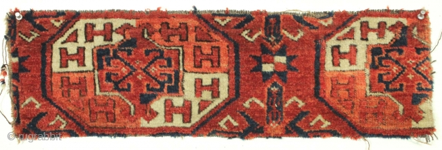 "Antique turkoman large ""coaster"" size fragment. Full pile. Good colors. Not restorable. app. 8"" x 25"""