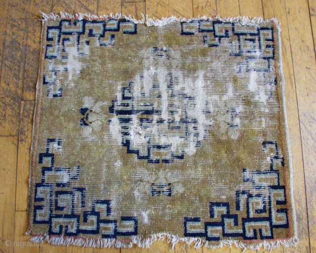 "Antique Chinese square. Old. Very worn. Summer cleanout. 30"" x 33"""