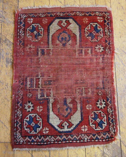 "Antique yastik of some type. Worn. Summer cleanout. 20"" x 29"""