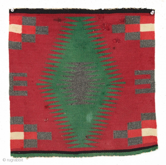 """Charming little navajo mat. Thin and fine weave. Dirty and a few small pulls, nibbles and crude repairs. ca 1900? 18"""" sq."""
