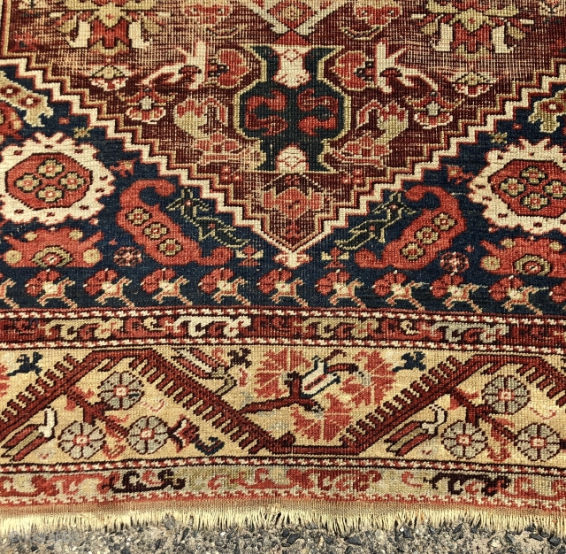 Early Anatolian Demerci Khula rug with classic field and lovely yellow border. Overall good condition for an older example. Even low pile with heavy oxidation of the field ground. Original selvages and  ...