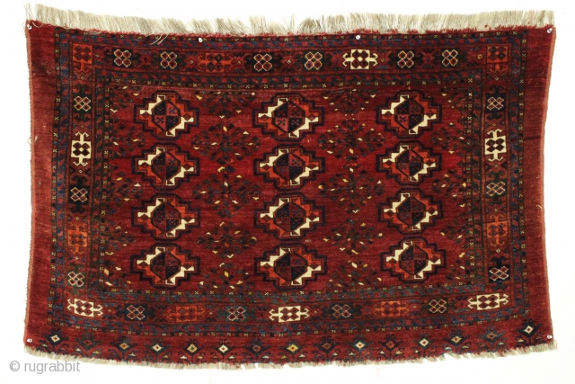 """Antique ersari chuval. Full thick lustrous pile. All natural colors. Nice floppy handle. Clean. No repairs. 19th c. weaving 2'9"""" x 4'4"""""""