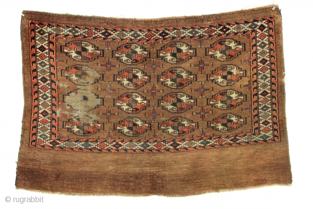 "Yomud chuval. All good colors. Even low pile with wear as shown. ""as found"", not cleaned, not repaired, not expensive. ca. 1880 weaving 2'7"" x 4'"