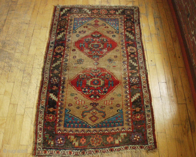ANTIQUE KURD BIDJAR RUG.  INTERESTING DESIGN.  ALL NATURAL DYES AND FIRST RATE COLOR.  SOME WEAR.  SOME OXIDATION.  ROUGH EDGES.  NO REPAIRS.  ONE OF MY FAVORITES.  ...