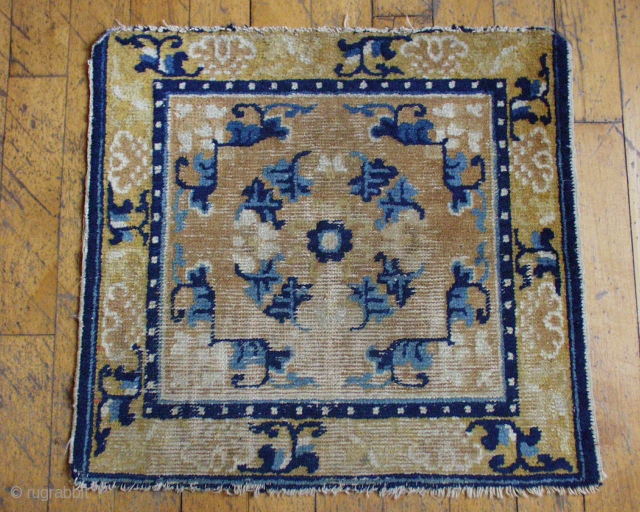 Antique Chinese square. Good design. Some good pile, some wear. All good natural colors. Mid 19th c. 2' x 2' 2""
