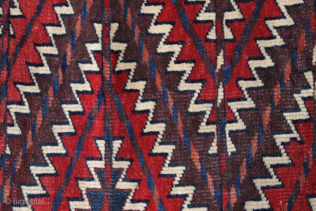 """Antique turkoman ok bash weaving. Good even pile. All natural colors. Nice purples. """"As found"""", no repairs. 19th c. 19"""" x 24"""""""