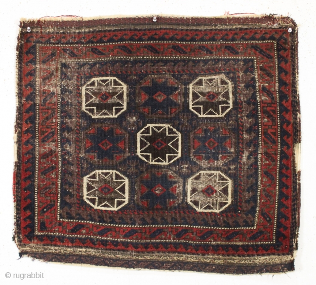 "Antique baluch bagface. Interesting design. All natural colors. 19th c. 2'3"" x 2'6"""