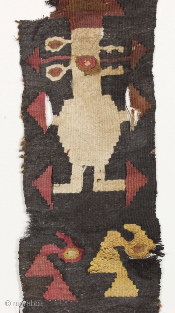"""pre columbian textile. Looks South American to me but not my area of expertise. """"as found"""", not mounted. Found locally. (in the piles). 3"""" x 26"""""""
