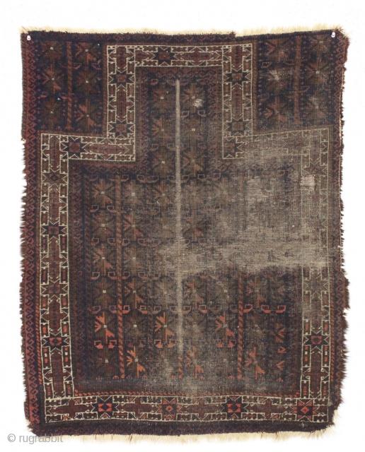 "Antique baluch prayer rug. Small, dark with no sugar. 2'8"" x 3'4"""