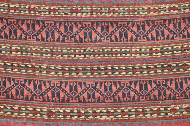"""Antique textile jajim fragment. Fine fine fine. All natural colors. Lightly sewn onto cloth. Colorful older example. 19th c. 18"""" x 38"""""""