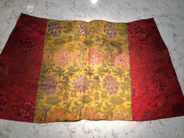 "Chinese brocade collected in Tibet. 26"" x 15"".  Original condition as found"