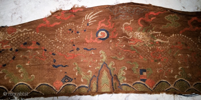 """Ming Period Banner fragment 27"""" x 8""""  Collected in Tibet 2000"""