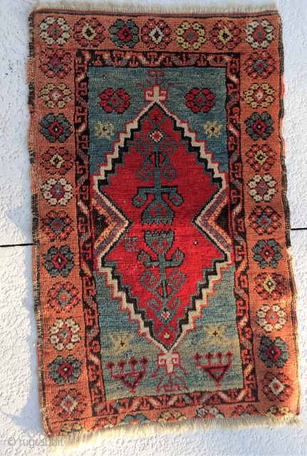 """Turkish Yastik 35"""" x 22"""" Good color but note missing  about 1.5"""" on one end.  Original sides 19th century"""