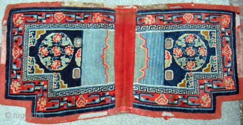 "Tibetan Lower Saddle Rug; 51""x24"" Chinese silk brocade medallion design. Overall condition good with wear on felt border."