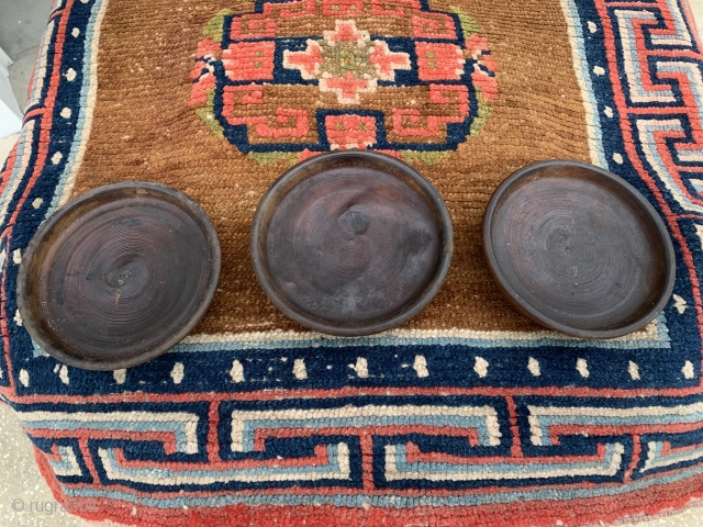 """3 Tibetan wooden bowls  collected in 2001.  6"""" diameter by 2"""" Price includes al 3 bowls"""