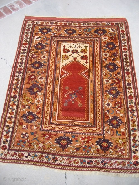 """Nice 19th century Turkish Melas.  It's 4'4"""" x 6'2"""" (somewhat larger than is typical for the type) and is in excellent condition.  There is one very small area--maybe 10 knots--of  ..."""