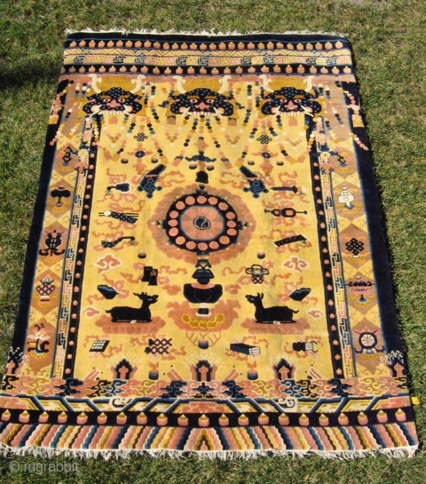 """Chinese hanging/banner rug (#1069) 5' 8"""" x 7' 10""""; small area of loose wefts at bottom left, but otherwise excellent condition, mid-20th century"""