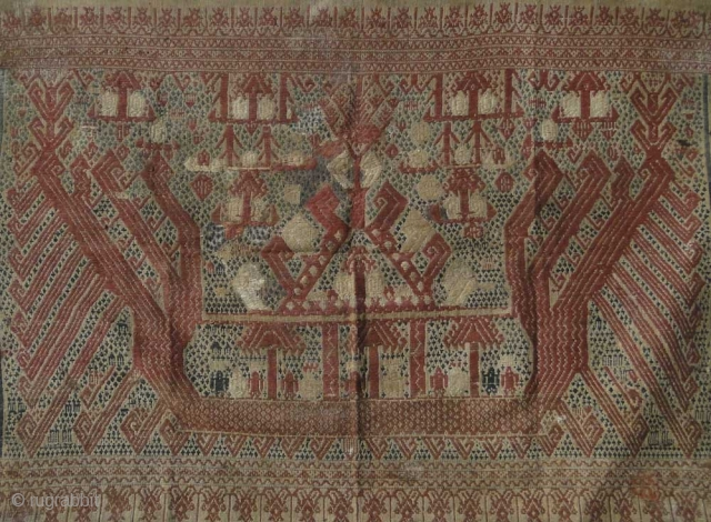 415 Antique Kalianda Tampan Shipcloth - Sumatra  Excellent work of woven art from the early-mid 1800s  More information on  https://wovensouls.com/collections/antique-textiles-borneo-dayak-batak-sumatra-java-indonesia-cambodia-thailand-vietnam-timor