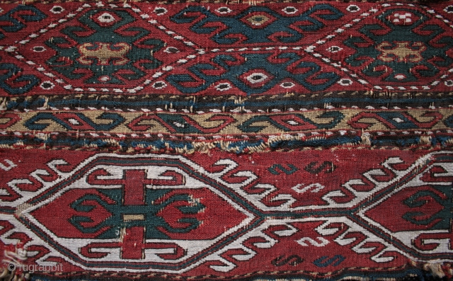 Finely woven 19th century Shahsavan mafrash panel with good colours and interesting bat like secondary design elements. One of the weavings from a trip to Turkey this June when I was glad to  ...