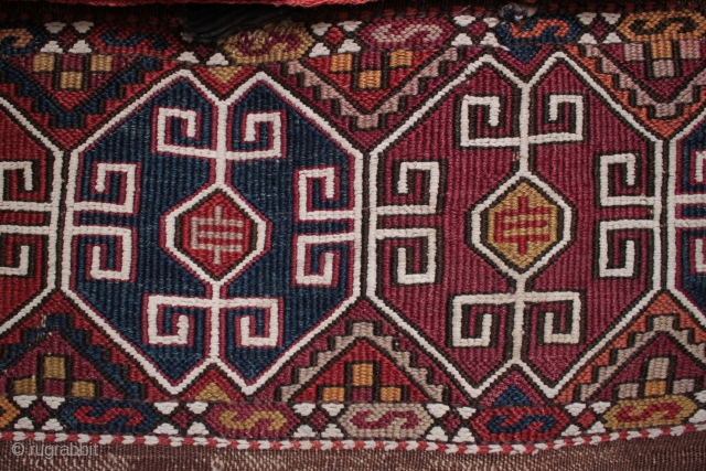 Complete 19th century Malatya chuval with unusual design and excellent colours.
