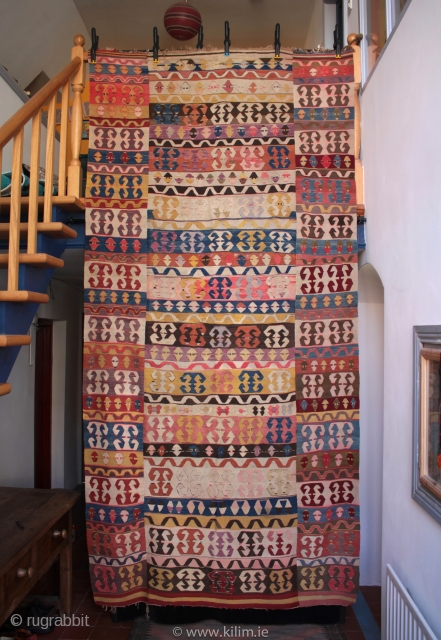 Large antique Konya enikli kilim. An unusual kilim with the motifs in the separately woven wide border panels matching the field design, something I have not seen before.  A recent find  ...