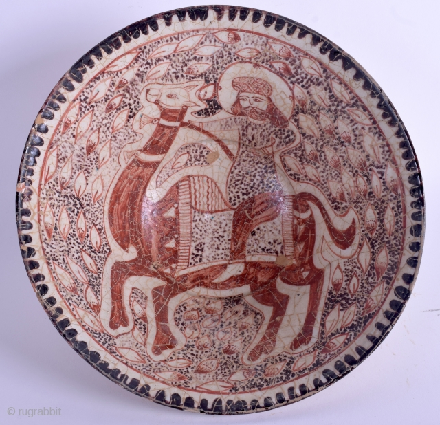 Antique persian (Kashan?) pottery bowl, 22,5 cm wide.  Good condition (see pictures)