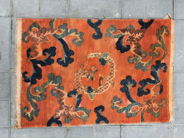 """Tibetan rug, Orange background with dragon pattern, surrounded by the bat veins. Very nice rug, good age and condition. Size 88*60cm(34*23"""")"""