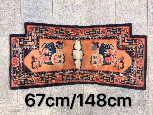"Tibetan horse saddle rug, orange background with nice snow mountain lions pattern, good age and condition. Size 67*148cm(26*58"")"