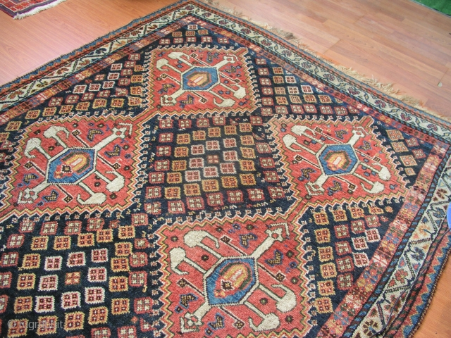 Antique Southwest Persian Lori Qashqai tribal rug . 19th century Lory Qashqai antique rug ,wool on wool base fringes need attention . Amazing lively colors in tribal design ,well preserved for its age really  ...